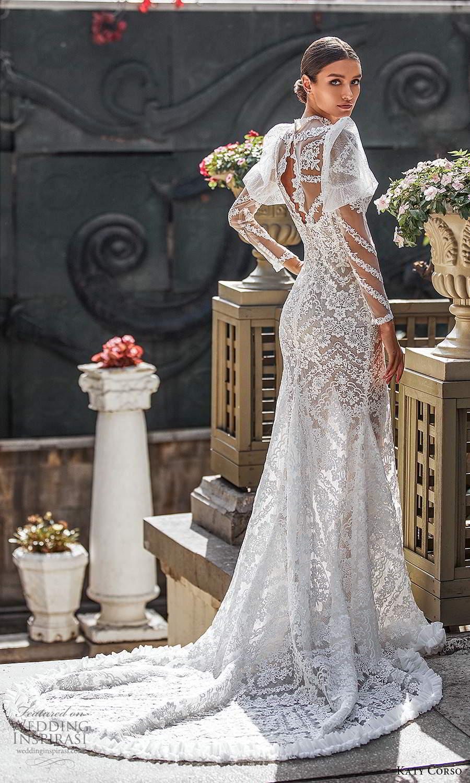 katy corso 2021 bridal sheer long puff sleeves illusion jewel sweetheart neckline fully embellished lace sheath wedding dress chapel train sheer back (7) bv