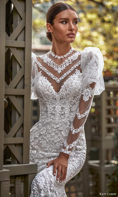 katy corso 2021 bridal sheer long puff sleeves illusion jewel sweetheart neckline fully embellished lace sheath wedding dress chapel train sheer back (7) zv