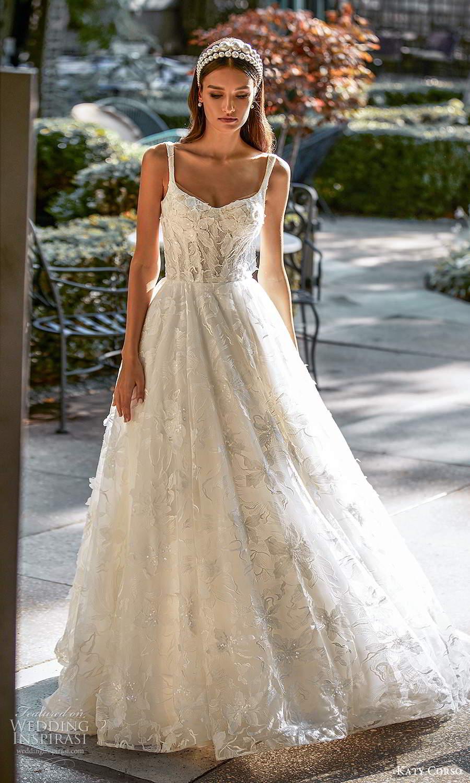 katy corso 2021 bridal sleeveles straps semi sweetheart neckline fully embellished a line ball gown wedding dress chapel train (16) mv