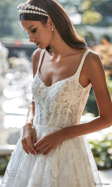 katy corso 2021 bridal sleeveles straps semi sweetheart neckline fully embellished a line ball gown wedding dress chapel train (16) zv