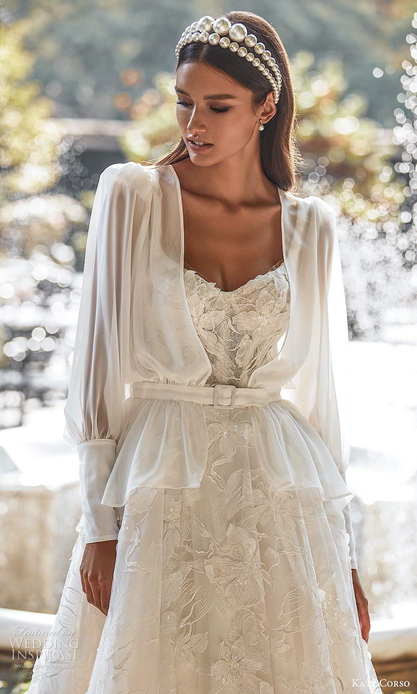 katy corso 2021 bridal sleeveles straps semi sweetheart neckline fully embellished a line ball gown wedding dress chapel train jacket (16) zv