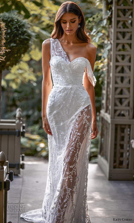 katy corso 2021 bridal sleeveless asymmetric off shoulder swag strap sweetheart neckline fully embellished lace sheath wedding dress chapel train (6) mv