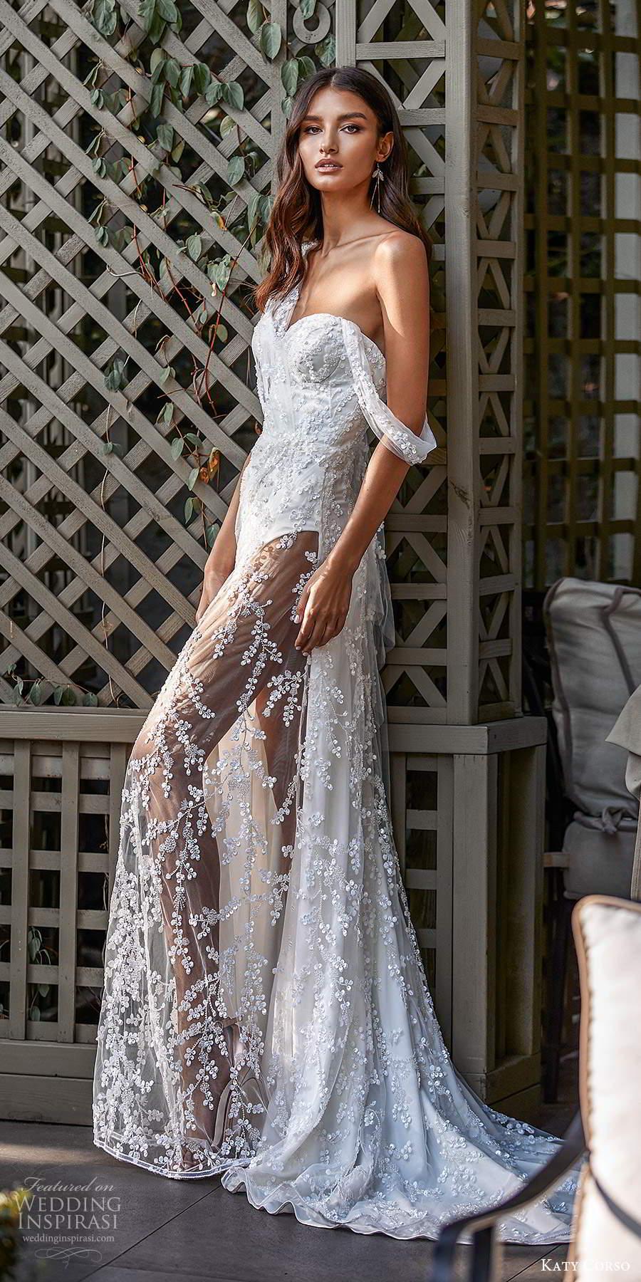 katy corso 2021 bridal sleeveless asymmetric off shoulder swag strap sweetheart neckline fully embellished lace sheath wedding dress chapel train (6) sv