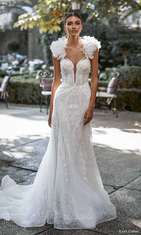 katy corso 2021 bridal sleeveless ruffle straps plunging sweetheart neckline fully embellished fit flare trumpet a line wedding dress chapel train (12) mv