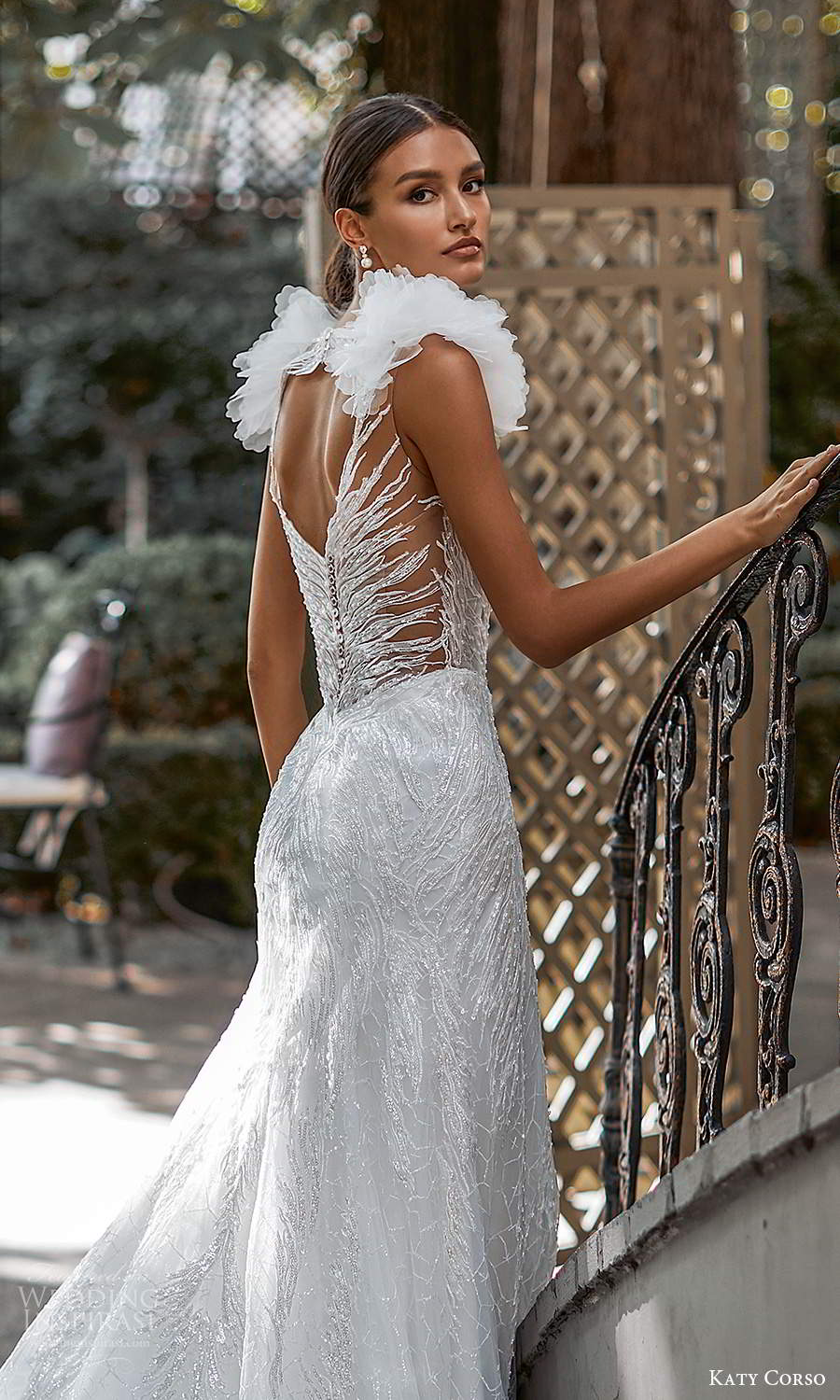 katy corso 2021 bridal sleeveless ruffle straps plunging sweetheart neckline fully embellished fit flare trumpet a line wedding dress chapel train (12) zbv