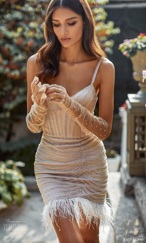 katy corso 2021 bridal sleeveless straps sweetheart neckline fully embellished short wedding dress champagne color (21) mv