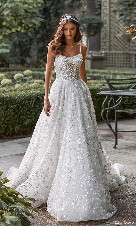 katy corso 2021 bridal sleeveless thin straps scoop neckline fully embellished a line ball gown wedding dress chapel train (9) mv