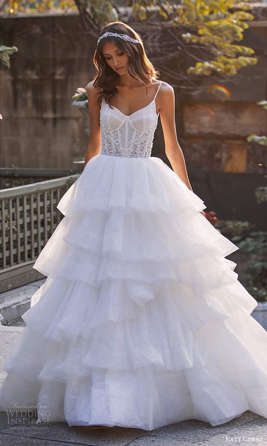 katy corso 2021 bridal sleeveless thin straps sweetheart neckline embellished bodice glitter tiered skirt a line ball gown wedidng dress chapel train (14) mv
