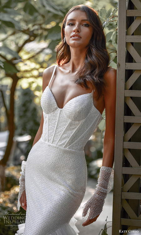 katy corso 2021 bridal sleeveless thin straps sweetheart neckline fully embellished sheath mermaid wedding dress ruffle skirt chapel train (8) zv