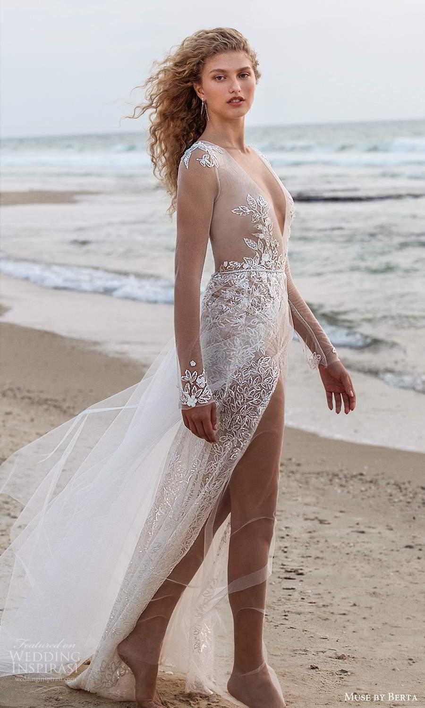 muse by berta fall 2021 bridal illusion long sleeves plunging v neckline sheer embellished bodice a line wedding dress (15) mv