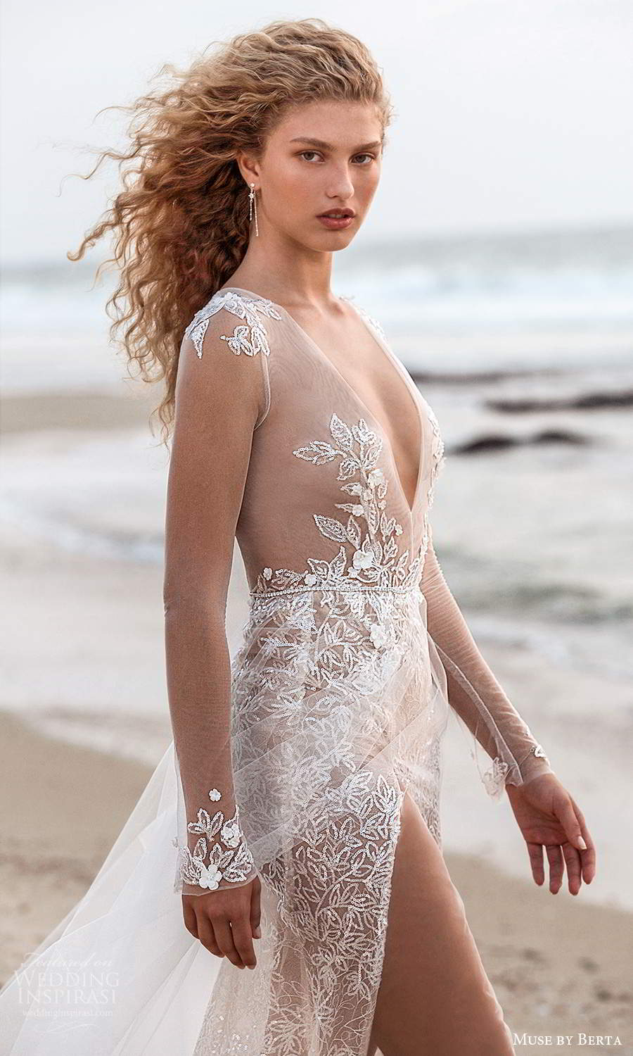 muse by berta fall 2021 bridal illusion long sleeves plunging v neckline sheer embellished bodice a line wedding dress (15) zv