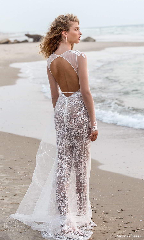 muse by berta fall 2021 bridal illusion long sleeves plunging v neckline sheer embellished bodice a line wedding dress keyhole back (15) bv