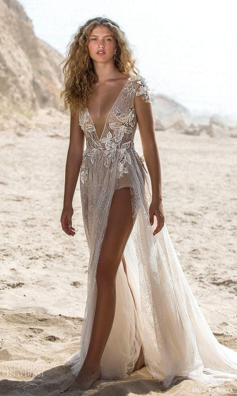 muse by berta fall 2021 bridal illusion short sleeve plunging v neckline embellished bodysuit bodice a line wedding dress sheer skirt chapel train (7) mv
