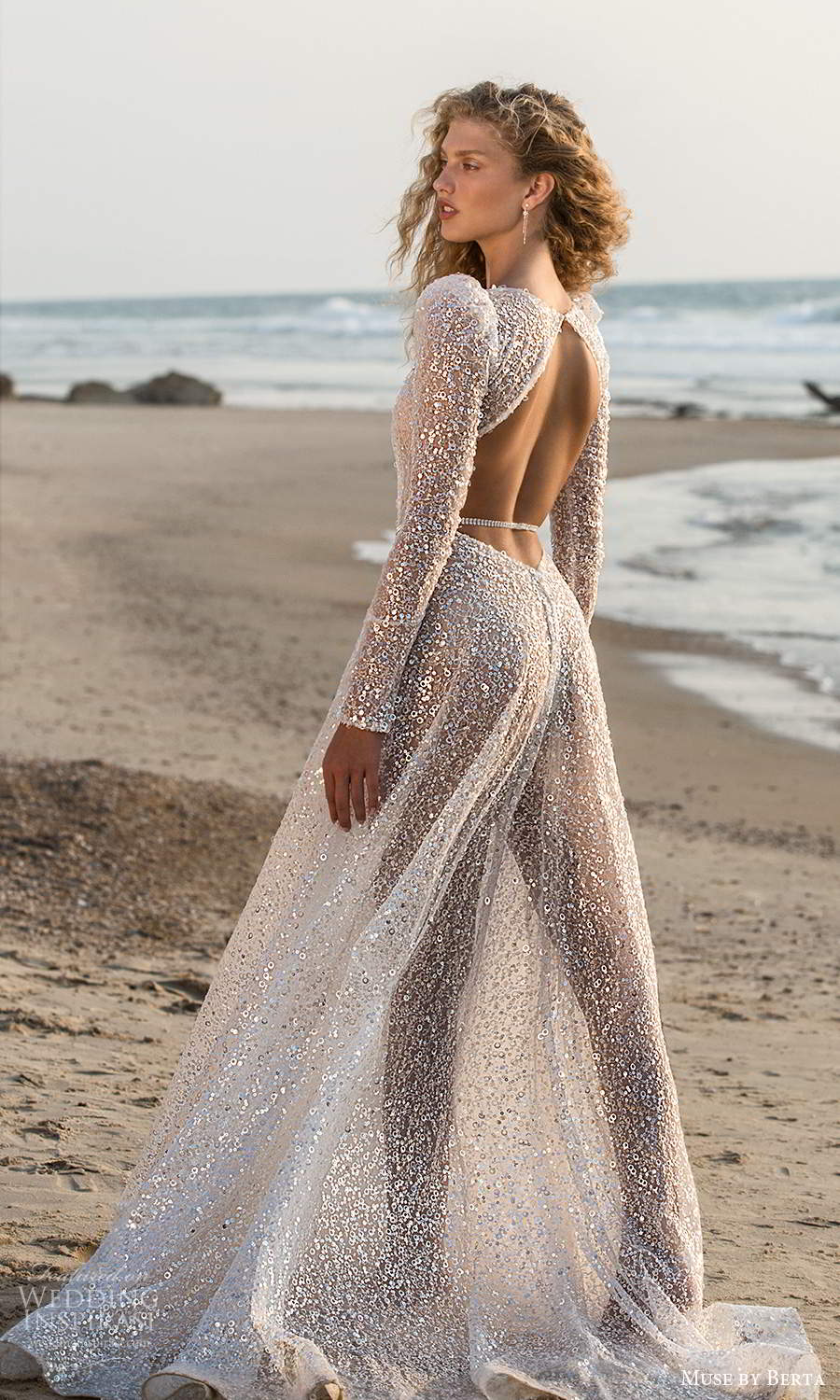 muse by berta fall 2021 bridal long puff sleeves plunging v neckline fully embellished a line wedding dress chapel train keyhole back (13) bv