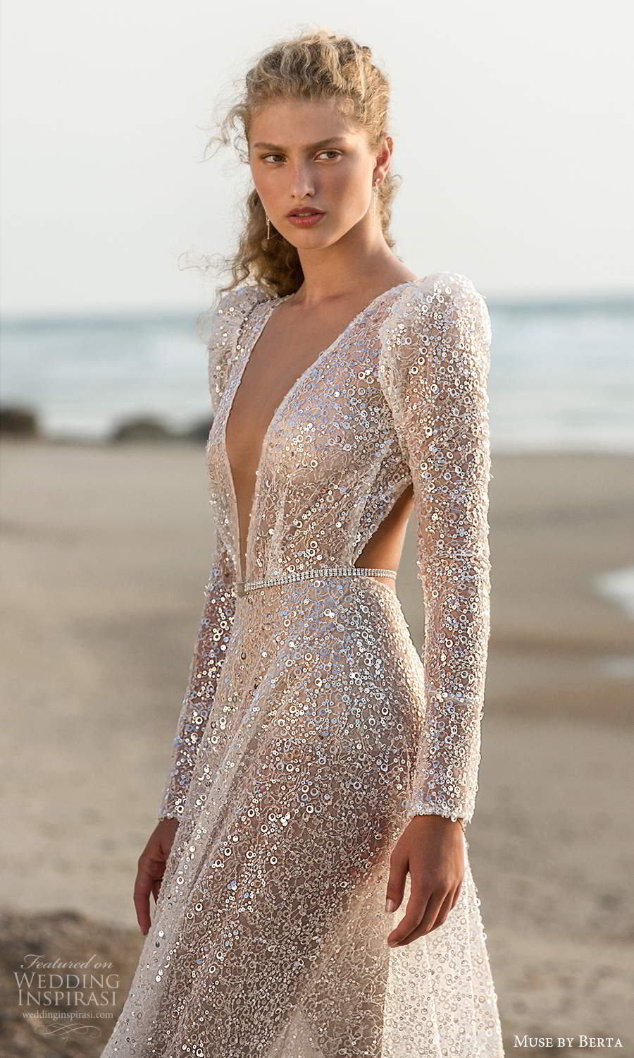 muse by berta fall 2021 bridal long puff sleeves plunging v neckline fully embellished a line wedding dress chapel train keyhole back (13) zv