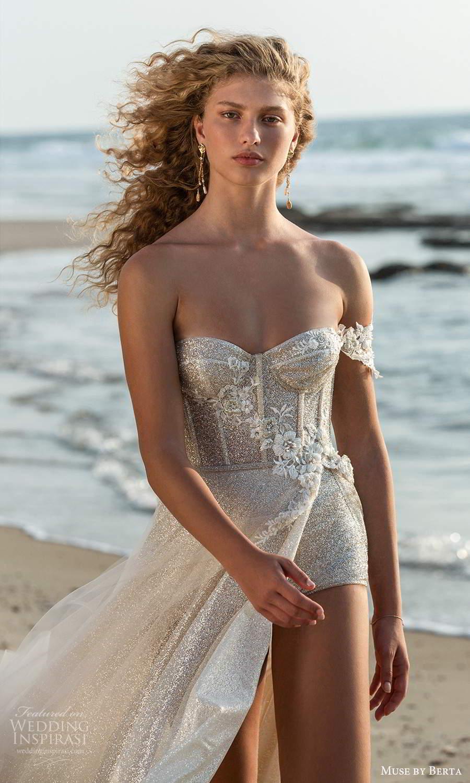 muse by berta fall 2021 bridal one shoulder swag straps semi sweetheart neckline fully embellished bodysuit a line wedding dress slit skirt (12) zv