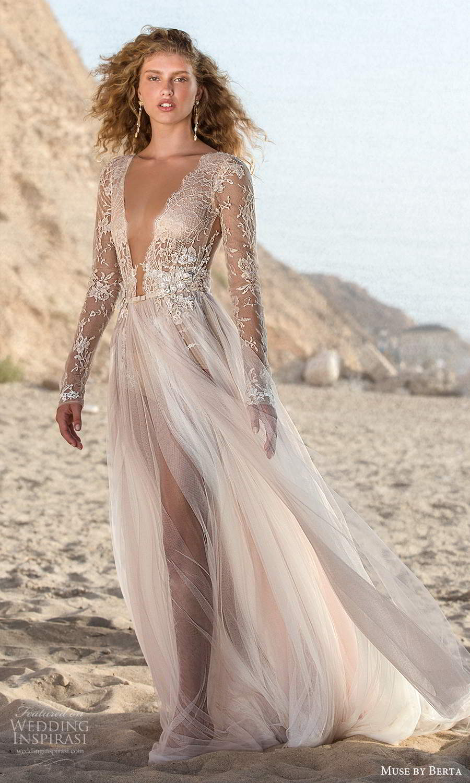 muse by berta fall 2021 bridal sheer long sleeves plunging v neckline embellished lace bodice bodysuit sheer skirt a line wedding dress (11) mv