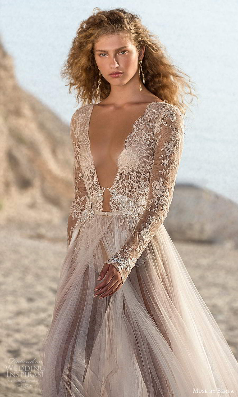muse by berta fall 2021 bridal sheer long sleeves plunging v neckline embellished lace bodice bodysuit sheer skirt a line wedding dress (11) zv