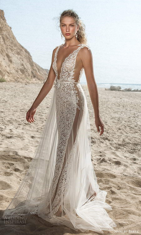 muse by berta fall 2021 bridal sleeveless bow straps plunging v neckline fully embellished lace sheath wedding dress sheer a line overskirt (8) mv