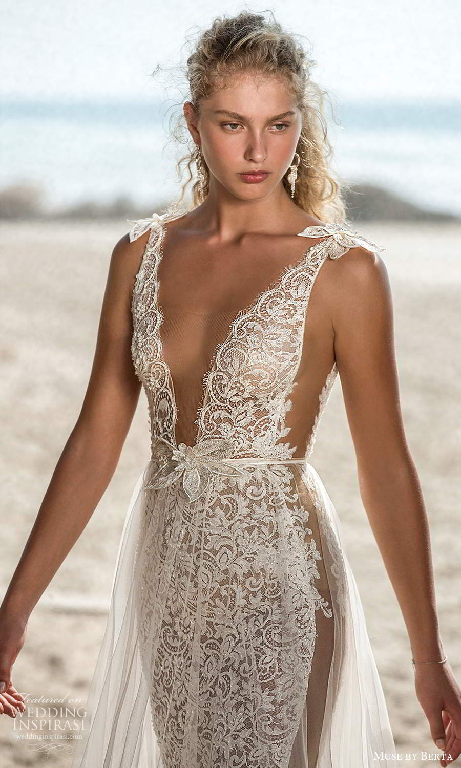 muse by berta fall 2021 bridal sleeveless bow straps plunging v neckline fully embellished lace sheath wedding dress sheer a line overskirt (8) zv