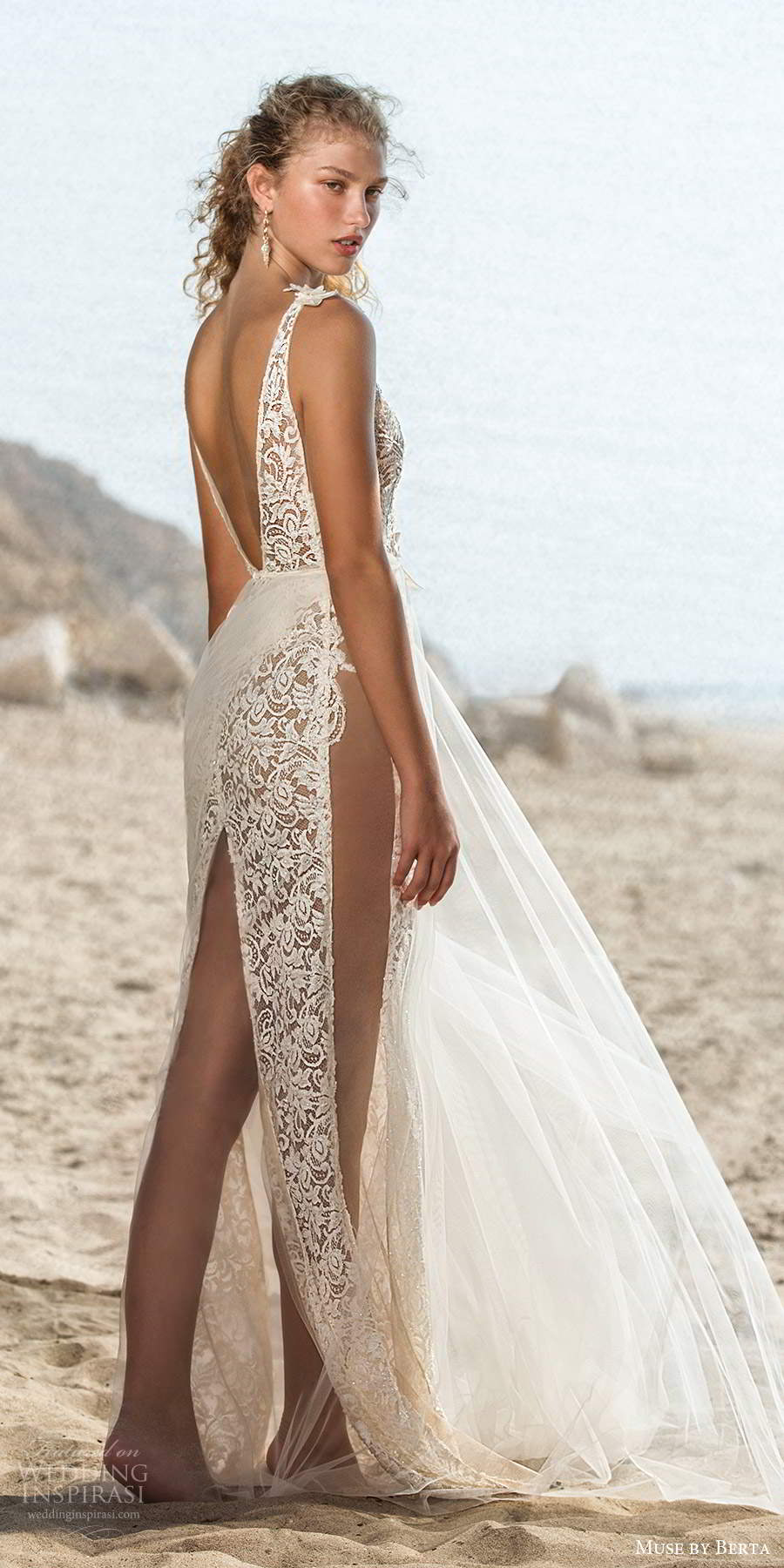 muse by berta fall 2021 bridal sleeveless bow straps plunging v neckline fully embellished lace sheath wedding dress sheer a line overskirt v back (8) bv