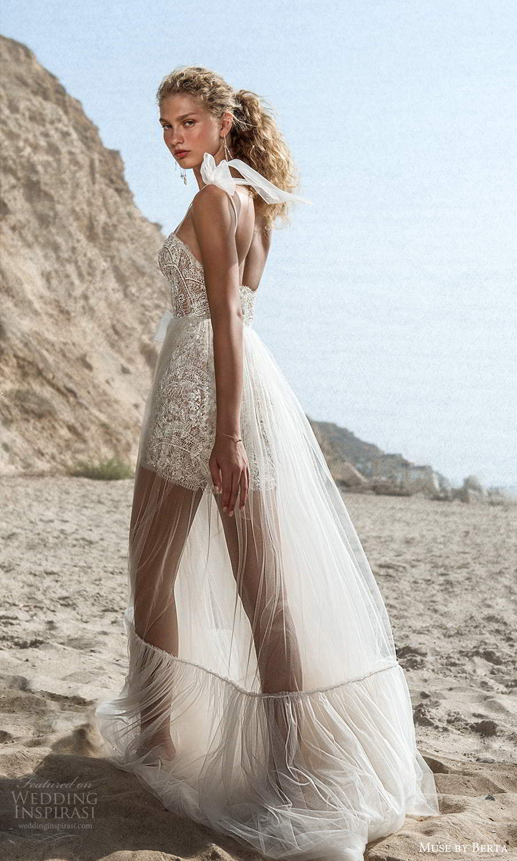 muse by berta fall 2021 bridal sleeveless bow thin straps semi sweetheart neckline fully embellished mini wedding dress sheer a line overskirt (9) bv