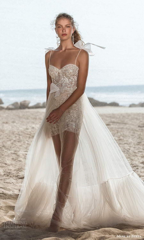 muse by berta fall 2021 bridal sleeveless bow thin straps semi sweetheart neckline fully embellished mini wedding dress sheer a line overskirt (9) mv