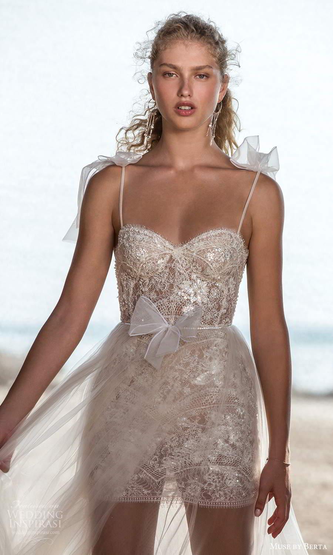 muse by berta fall 2021 bridal sleeveless bow thin straps semi sweetheart neckline fully embellished mini wedding dress sheer a line overskirt (9) zv