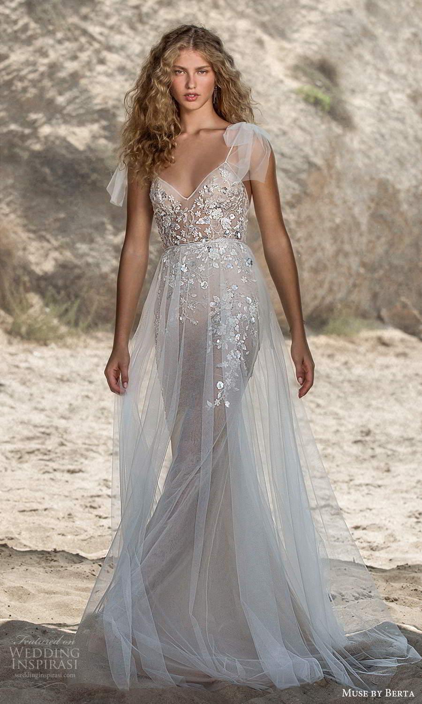 muse by berta fall 2021 bridal sleeveless bow thin straps v neckline embellished bodice sheath wedding dress sheer a line skirt chapel train (5) mv
