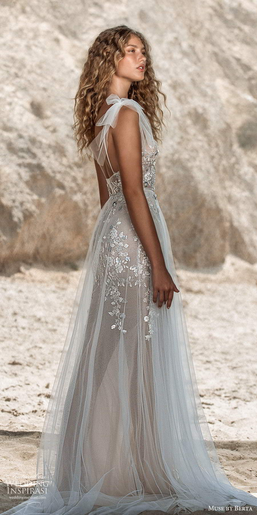 muse by berta fall 2021 bridal sleeveless bow thin straps v neckline embellished bodice sheath wedding dress sheer a line skirt chapel train (5) sv