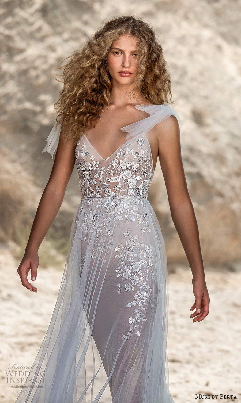 muse by berta fall 2021 bridal sleeveless bow thin straps v neckline embellished bodice sheath wedding dress sheer a line skirt chapel train (5) zv