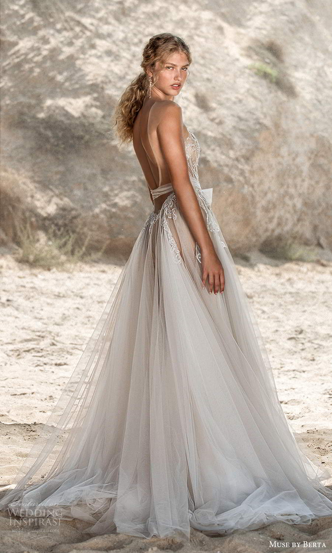 muse by berta fall 2021 bridal sleeveless illusion cap sleeves plunging v neckline embellished bodice sheer skirt bow waist a line wedding dress chapel train (1) bv