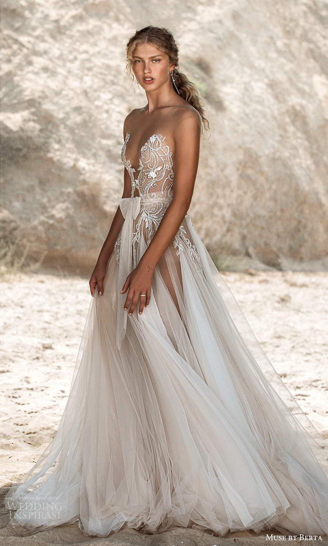 muse by berta fall 2021 bridal sleeveless illusion cap sleeves plunging v neckline embellished bodice sheer skirt bow waist a line wedding dress chapel train (1) mv