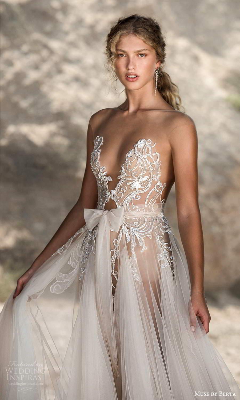muse by berta fall 2021 bridal sleeveless illusion cap sleeves plunging v neckline embellished bodice sheer skirt bow waist a line wedding dress chapel train (1) zv