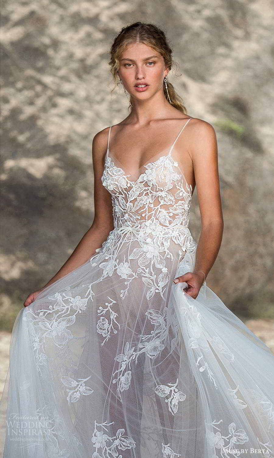 muse by berta fall 2021 bridal sleeveless spaghetti straps illusion scoop sweetheart neckline embellished bodice a line ball gown wedding dress chapel train (2) zv