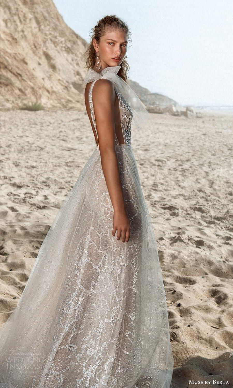 muse by berta fall 2021 bridal sleeveless straps plunging v neckline fully embellished sheath wedding dress a line overskirt chapel train (10) bv