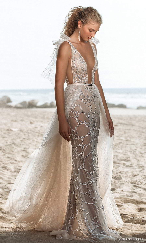muse by berta fall 2021 bridal sleeveless straps plunging v neckline fully embellished sheath wedding dress a line overskirt chapel train (10) mv