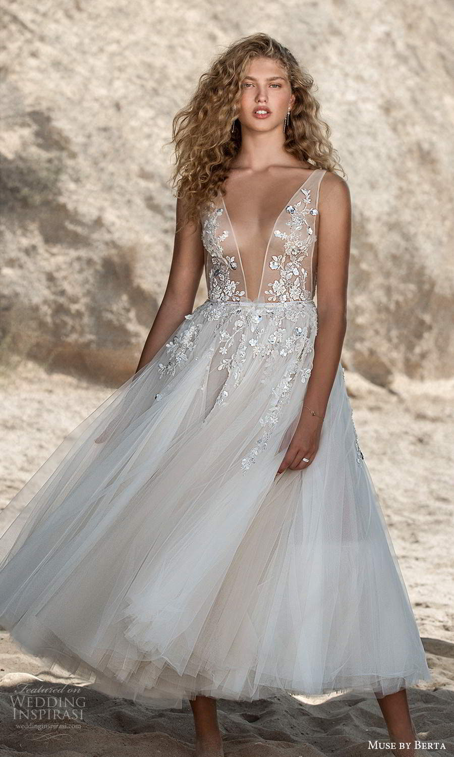 muse by berta fall 2021 bridal sleeveless thick straps plunging v neckline side cutout sheer embellished bodice a line ball gown tea length wedding dress (6) mv