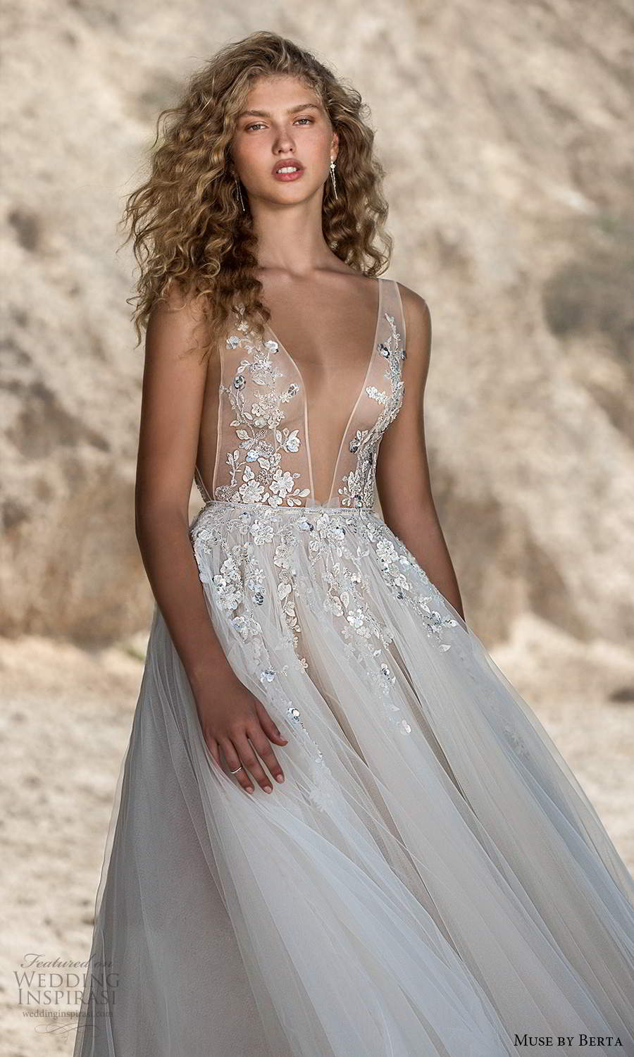 muse by berta fall 2021 bridal sleeveless thick straps plunging v neckline side cutout sheer embellished bodice a line ball gown tea length wedding dress (6) zv