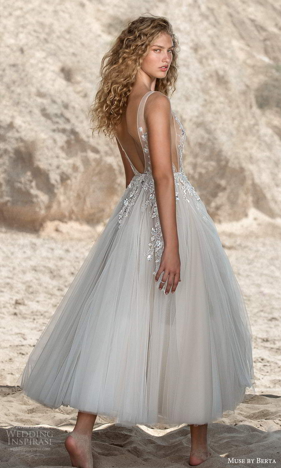 muse by berta fall 2021 bridal sleeveless thick straps plunging v neckline side cutout sheer embellished bodice a line ball gown tea length wedding dress low back (6) bv