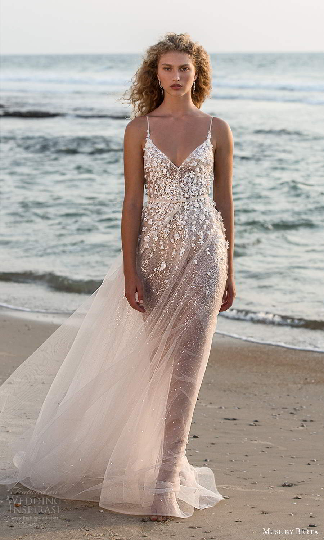 muse by berta fall 2021 bridal sleeveless thin straps v neckline heavily embellished bodice sheer skirt a line wedding dress chapel train (14) mv