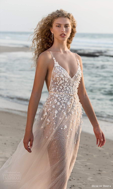 muse by berta fall 2021 bridal sleeveless thin straps v neckline heavily embellished bodice sheer skirt a line wedding dress chapel train (14) zv
