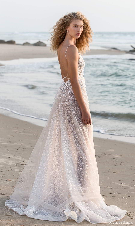 muse by berta fall 2021 bridal sleeveless thin straps v neckline heavily embellished bodice sheer skirt a line wedding dress chapel train low back (14) bv
