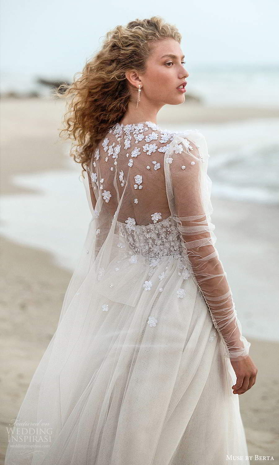 muse by berta fall 2021 bridal strapless sweetheart neckline heavily embellished bodice a line ball gown wedding dress sheer puff sleeve cape (16) bv