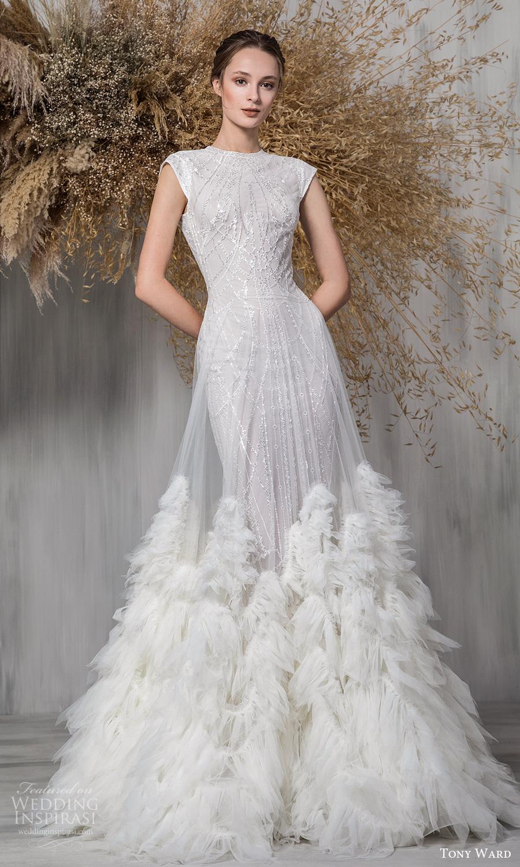 tony ward 2021 bridal cap sleeves jewel neckline fully embellished sheath wedding dress a line overskirt feathers (14) mv