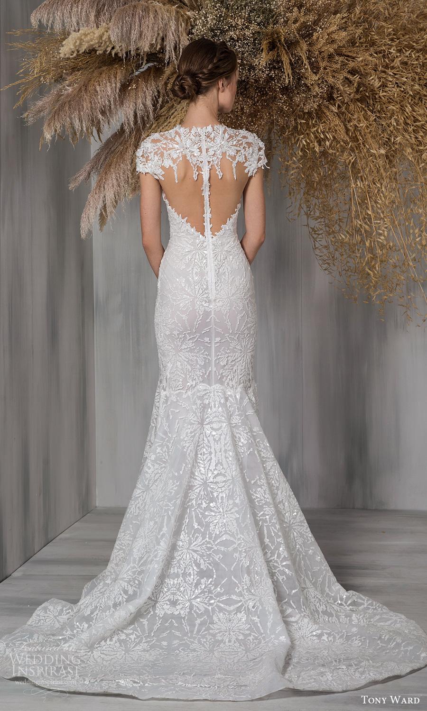 tony ward 2021 bridal cap sleeves jewel neckline keyhole bodice fully embellished fit flare mermaid wedding dress chapel train (8) bv