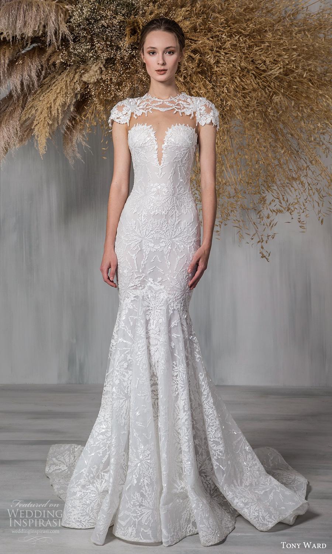 tony ward 2021 bridal cap sleeves jewel neckline keyhole bodice fully embellished fit flare mermaid wedding dress chapel train (8) mv