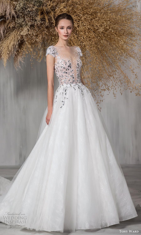 tony ward 2021 bridal cap sleeves plunging sweetheart neckline heavily embellished bodice a line ball gown wedding dress chapel train (25) mv