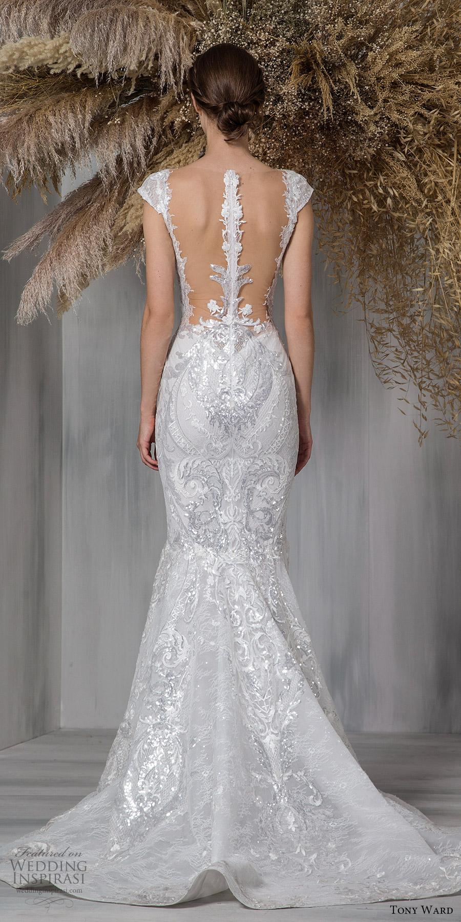 tony ward 2021 bridal cap sleeves sweetheart neckline fully embellished lace fit flare mermaid wedding dress chapel train (24) bv