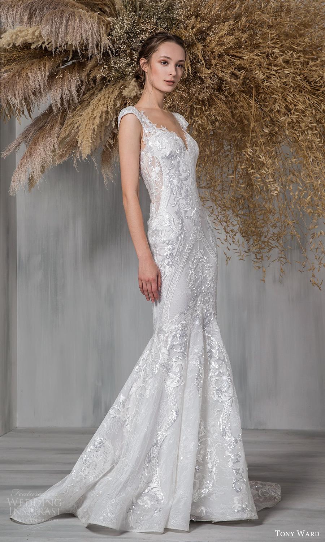 tony ward 2021 bridal cap sleeves sweetheart neckline fully embellished lace fit flare mermaid wedding dress chapel train (24) mv